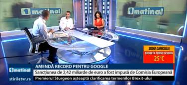 1Matinal – Amenda record de 2,42 mld de euro primită de Google